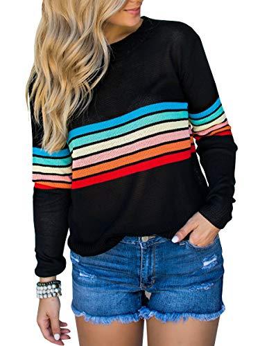 Klousilover Womens Rainbow Sweaters Lightweight Knit Pullover Loose Jumper Tops