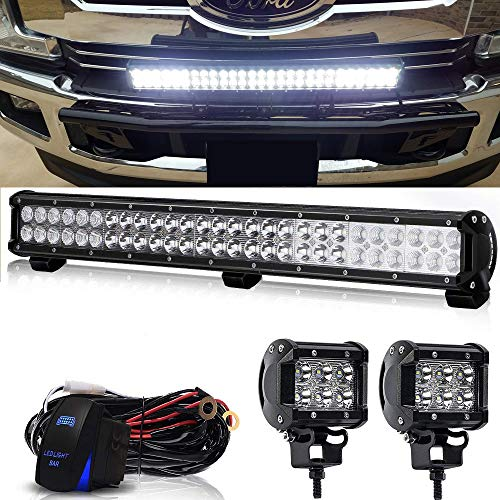 DOT 25 Inch 162W Led Light Bar On Grill Windshield Bumper + 2PCS 4 Inch 18W Cube Pods Driving Fog Lights W/Rocker Switch Wiring Harness For Boat SUV ATV UTV Truck Jeep Wrangler Polaris RZR Dodge