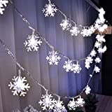 HuTools Christmas Snowflake Led Lights, 16.5ft 50
