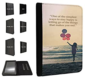 250 - One of the simplest ways to stay happy floating Balloons Design Fashion Trend TPU Leather Flip Case For Amazon Kindle Fire HD 7'' 2014 4th Generation Full Case Flip TPU Leather Purse Pouch Defender Stand Cover