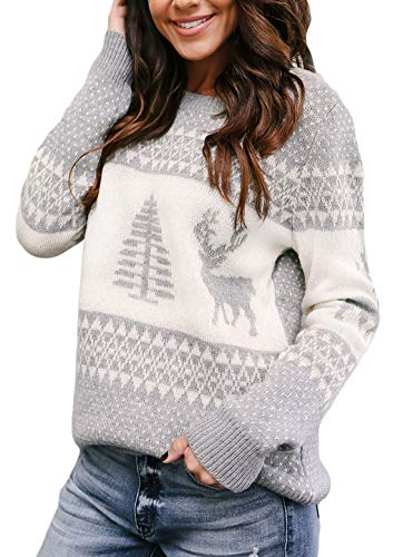 Dearlovers Women's Reinder Snowflakes Holiday Knit Christmas Sweater Pullovers Grey-2 L