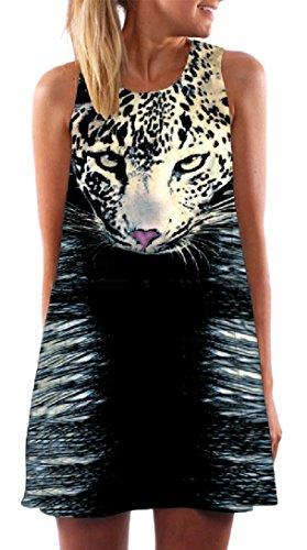 Stylish Pattern1 A Women Print Sleeveless Digital Coolred Short line Sun Weekend Crewneck Dress q4OH1X
