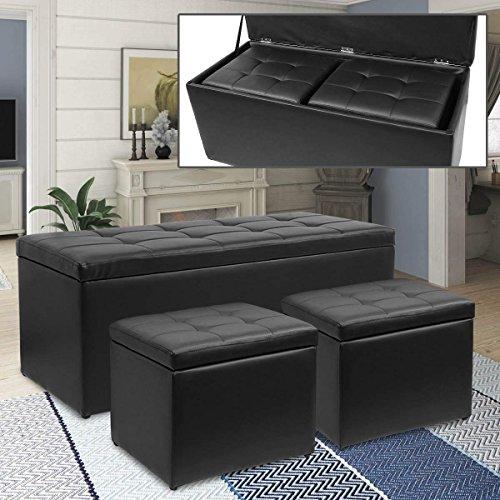 Magshion 3 Piece Black Storage Ottoman Bench Footrest with 2 Cube Ottoman Set 3 Piece Set Ottoman