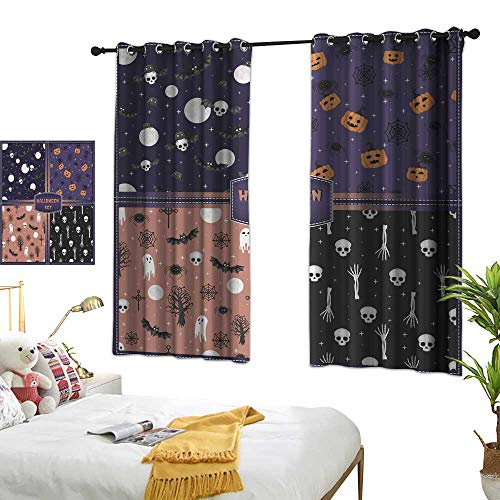 wwwhsl Cloth Curtain Halloween Set of Seamless Patterns Warm Home Designs W84.2 xL72]()