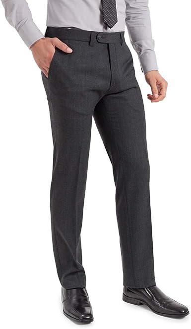 Trousersland Pantalon De Vestir Para Hombre De Corte Clasico Tipo Melton Sin Pinzas Delanteras Y Elastico Color Gris Talla 56 Amazon Es Ropa Y Accesorios