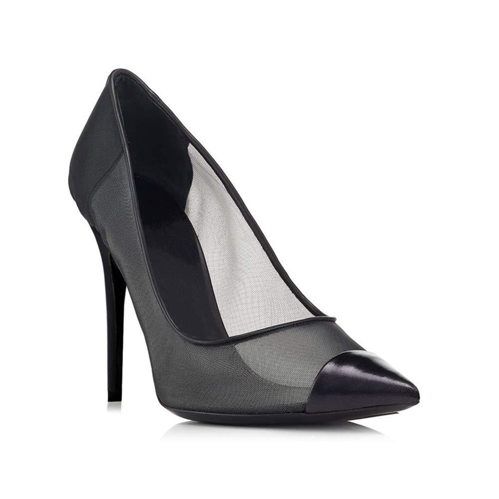 LYY.YY Frauen Spitze Mesh Atmungsaktiv Einzelne Wasserdicht Schuhe Zehenspitzen Wasserdicht Einzelne Rutschfest Stilett Pendeln Hoher Puffer Büro Schuhe (Absatzhöhe: 12Cm) schwarz 37a9ea