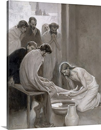 Albert Gustaf Aristides Edelfelt Premium Thick-Wrap Canvas Wall Art Print entitled Jesus Washing the Feet of his Disciples, 1898 11