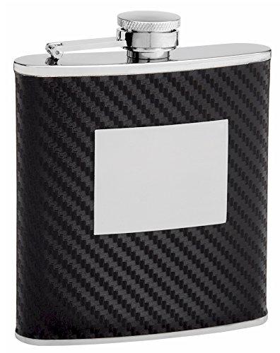 (6oz Faux Carbon Fiber Hip Flask, Free Custom Personalization)