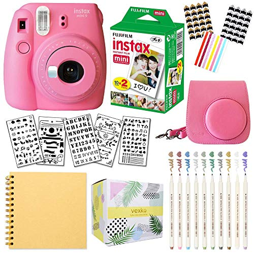 Fujifilm Instax Mini 9 Instant Camera (Flamingo Pink) + Fuji INSTAX Film (20 Sheets) + Bundle with: Groovy Camera Case + Scrapbook Photo Album + Stencils + Metallic Markers + Photo Corners