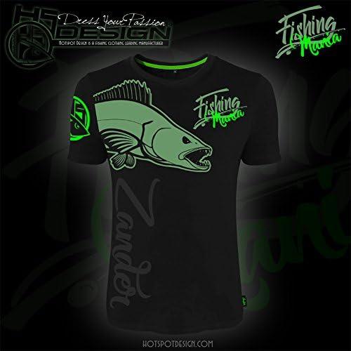 T Shirt Fuer Spinn Angler HOTSPOT DESIGN T-Shirt Fishing Mania Zander