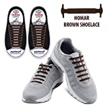 Homar No Tie Shoelaces Turn Your Shoes Into Slip-on - Best In Sports & Fitness - Waterproof Silicon Running Shoelaces Multicolor Shoe Laces Perfect For Camper Men Adult And Children - Brown | amazon.com