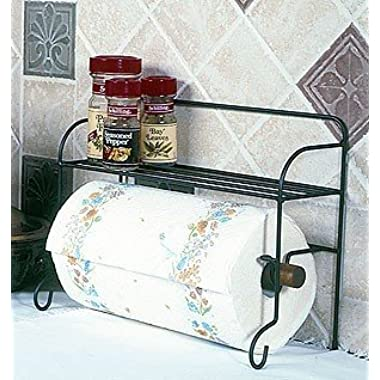 Wire Black Paper Towel Holder Rack with Shelf 10  H