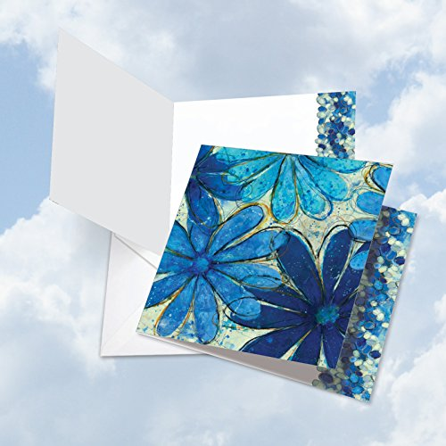 JQ4607BTYG Jumbo Thank You Square-Top Card: Blue Blooms Featuring Abstract Blue Daisy Images with Contrasting Blue Oval Designs with Envelope (Extra Large Size: 8.5