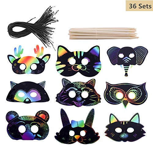 Hofumix Scratch Art Rainbow Scratch Paper Animal Masks Half Face Mask with Holes Elastic Cords Scratching Tools for Kids Jungle Forest Activity Birthday Party Halloween Costume 36 Sets