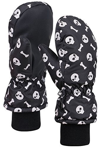 ANDORRA Grils Glow in the Dark Thinsulate Lined Waterproof Ski Mittens,Skull,M (Kids Boys Ski Jacket)