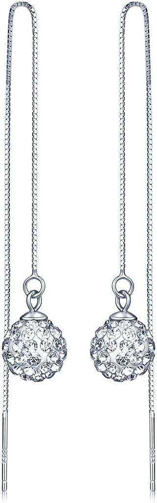 Pendientes Infinite U de plata de ley 925, 9mm, con bola de cristal de Shamballa, pendientes largos cierre de gancho, para mujeres/jóvenes, de plata