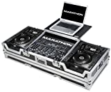 (US) Marathon Flight Road Case MA-CDJ2K19WLT Coffin Holds 2 x Large Format CD Players: Pioneer with 12-Inch Mixer and Laptop Shelf with Wheels