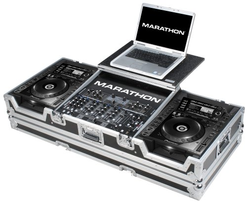 Marathon Flight Road Case MA-CDJ2K19WLT Coffin Holds 2 x Large Format CD Players: Pioneer with 12-Inch Mixer and Laptop Shelf with Wheels Cdj Coffin