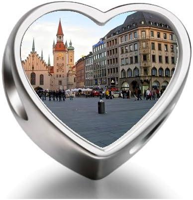 Travel Marienplatz in München Deutschland Heart Photo Charm beads ...