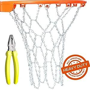 Heavy Duty Metal cadena baloncesto Net Reemplazo con 12 ganchos y ...