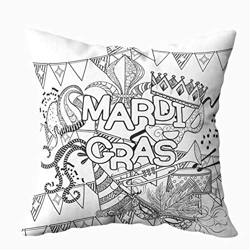 KIOAO 18x18 Pillow Cover, Standard 18X18Inch Soft Square Throw Pillowcase Covers Mardi Gras Carnival Mask Hats Hat Crowns Fleur De Feathers Ribbons Coloring Page Adult Printed with Both Sides