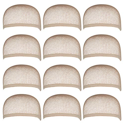 Blisstime Pack of 12 Wig Cap Open End Mesh Net Liner Weaving Cap (beige)