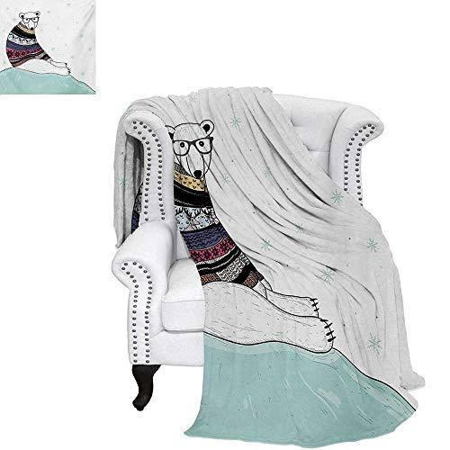 warmfamily Bear Print Artwork Image Hipster Polar Bear with Fair Isle Style Sweater Sitting on Ice Christmas Snowflakes Warm Microfiber All Season Blanket 50