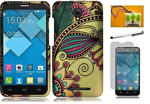 Alcatel One Touch Pop Mega LTE A995G / A995L, LF 4 in 1 Bundle, Designer Cover Case, Stylus Pen, Screen Protector & Wiper For Alcatel One Touch Pop Mega LTE A995L / A995L (Designer Antique (Alcatel A995g Lte Phone Cover)