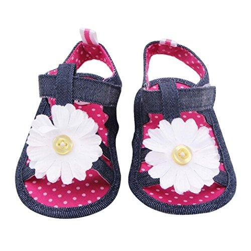 Ouneed® Ete Floral Denim Chaussuresde bébé/ Baby Girl Anti-Slip Cowboy Sandals Toddler semelle souple (12, Rose vif)