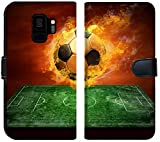 Samsung Galaxy S9 Flip Fabric Wallet Case Image ID: 8174614 Hot Soccer Ball on The Speed in Fires Flame