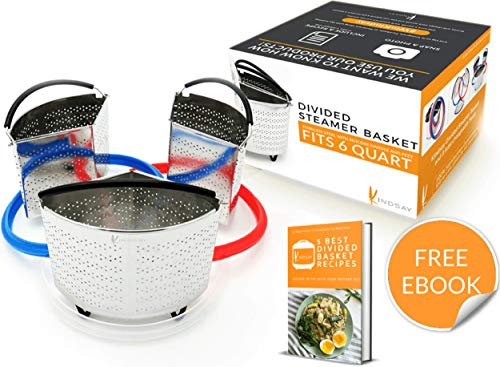Instant Pot Divider Basket Set 6 Qt | Pressure Cooker, Steamer Inner Insert Accessories, E Book | Silicone Seal Replacement, Stainless Steel Rack Strainer | Ideal for Cooking Egg, Potato, Vegetables