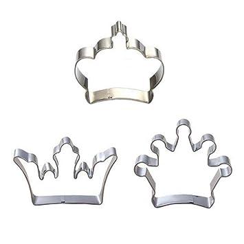 prevently nueva Creative 3pc único Príncipe Princesa corona Cookie Cutter acero inoxidable DIY Cake Mold A: Amazon.es: Hogar