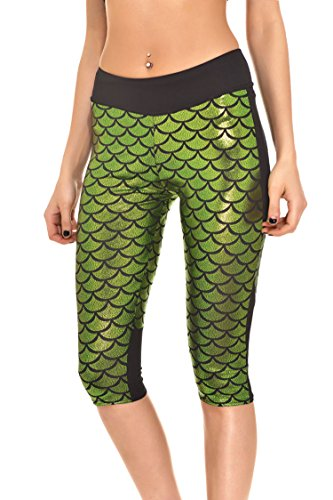 25c56fa336c9e Pink Queen Women s Mermaid Fish Scale Printed Yoga Plus Size Capri Leggings