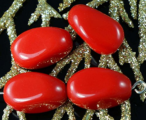 Large Opaque Red Czech Glass Faceted Oval Beads Oblong 16mm x 10mm 6pcs