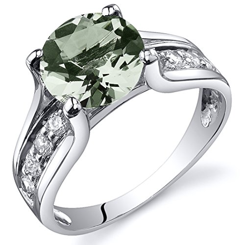 Green Amethyst Solitaire Style Ring Sterling Silver 1.75 Carats Sizes 5 to 9