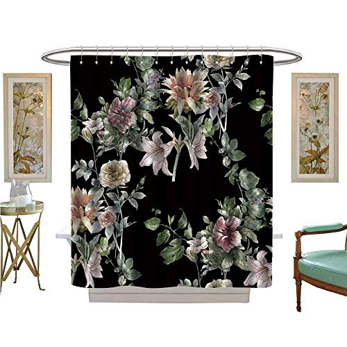luvoluxhome Shower Curtains Sets Bathroom Paint of Leaf and Flowers on Background Satin Fabric Bathroom Washable W69 x ()