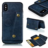 iPhone X XS Case, AIIYG DS Hybird Shorckproof TPU Soft Case Support Magnetic Car Mount Holder with Kickstand Credit Card Holder Ultra Leather Wallet Case for Apple iPhone X