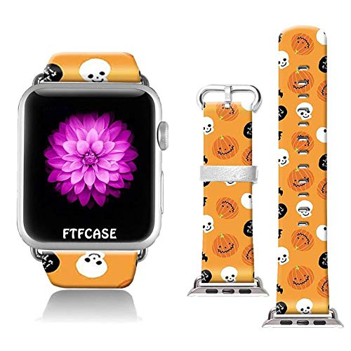 FTFCASE Compatible with Apple Watch Band 38mm 40mm, Soft Leather Replacement Sport Bands Compatible with iWatch 38mm 40mm Series 4/3/2/1 - Funny Grimace with Pumpkin Head -