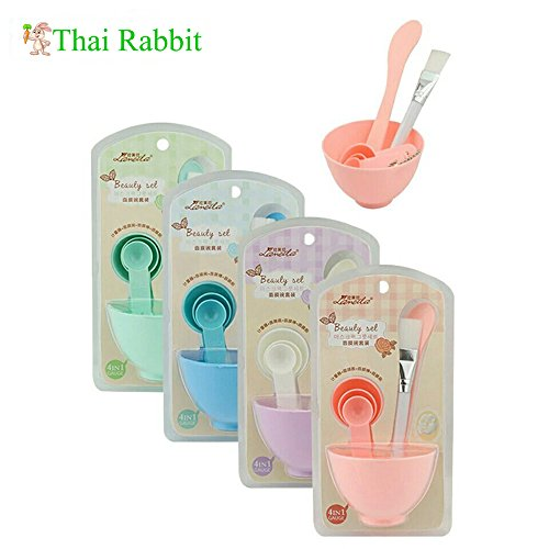 4 in 1 Homemade Makeup Beauty DIY Facial Face Mask Bowl Brush Measuring Spoon Tool Set Skin Care Make up Tools Kit Accessories (Homemade Day Of The Dead Costume)