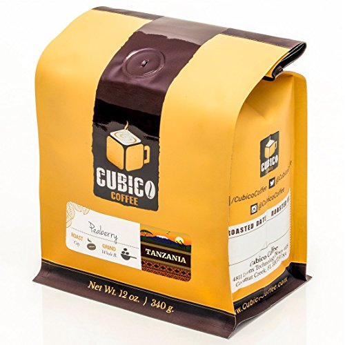 Tanzania Peaberry Coffee - Whole Bean Coffee - Freshly Roasted Coffee - Cubico Coffee - 12 Ounce (Single Origen Peaberry Tanzanian Coffee)