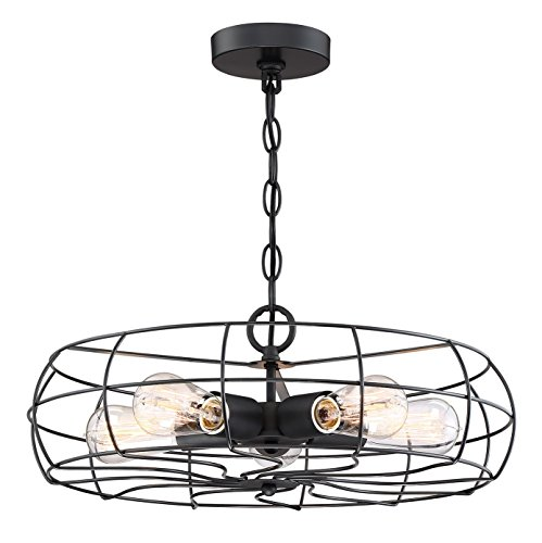"""This Lantern Inspired House Design Lights Up A California: Kira Home Gage 18"""" Industrial 5-Light Fan Chandelier"""