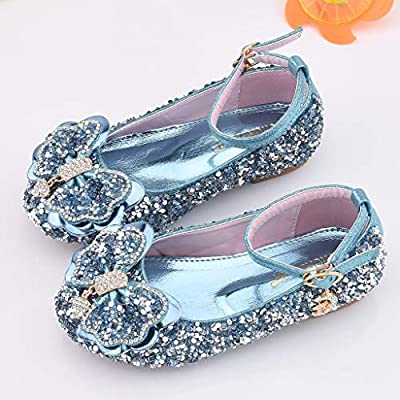 Sameno Kids Girls Sequin Sandals Princess Shoes Bowknot Ankle Strap Glitter Wedding Party Dance Shoes 3-10 Years Old: Clothing