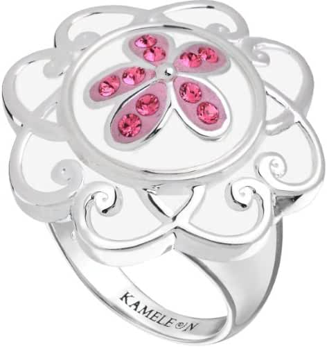 Kameleon White Enamel Flower Scroll Ring Size 5 * Jewelpop Authentic Silver New KR009Wsize 5