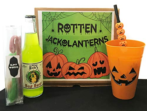 Happy Halloween Gift! -Candy Bouquet- Great Gift Basket Box for Wishing a Happy Halloween! (Rotten Jack-O-Lanterns!) -