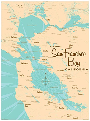 San Francisco Bay California Vintage-Style Map Art Print Poster by Lakebound (18