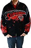 DC Comics Superman Men's Red/Black Splattered Twill Jacket, Medium