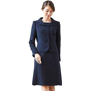 お受験スーツ アンサンブル 濃紺 ジャケット ワンピース レディース 夏 通年 洗える BLACK GALLERY ネイビー 13号