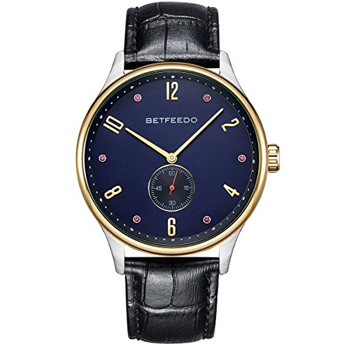 BETFEEDO Luxury Men's Wrist Watch, Genuine Leather Watch Band - 44mm Analog Watch - Japanese Quartz Movement (Ben And Sons Mens Watch)