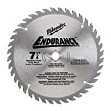 Milwaukee 48-40-4132 Endurance 7-1/4-Inch 48 Tooth ATB Finishing Saw Blade with 5/8-Inch and Diamond Knockout Arbor