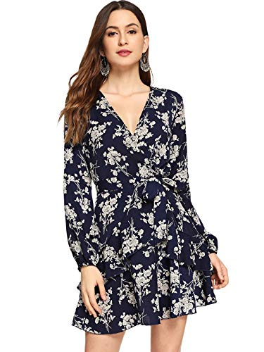 Milumia Women's Vintage Floral Print Boho Split Wrap Slim Dress Navy-1 Small